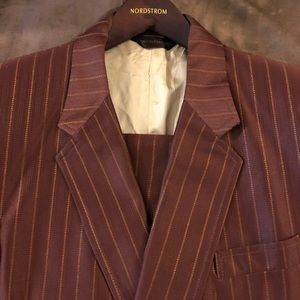 Other - Maroon w/ Gold Pinstripe Double Breasted Suit 42R